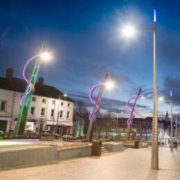 bespoke lighting columns at night